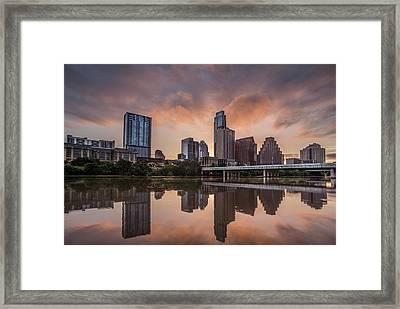 Framed Print featuring the photograph Austin Skyline Sunrise Reflection by Todd Aaron