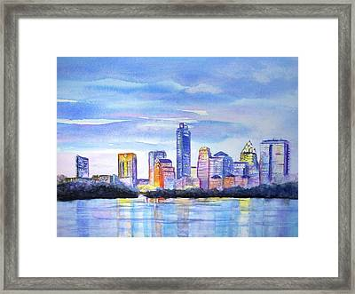 Austin Skyline Sunset Glow Framed Print