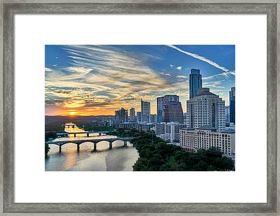 Austin View Down Town Lake  Framed Print by Tod and Cynthia Grubbs