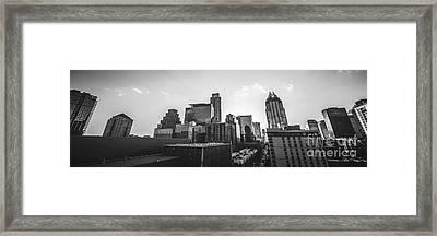 Austin Texas Black And White Panorama Framed Print
