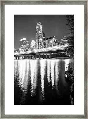 Framed Print featuring the photograph Austin Texas Black And White Skyline Night Reflections by Gregory Ballos