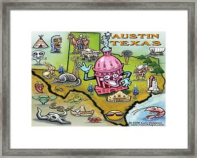 Austin Texas Cartoon Map Framed Print by Kevin Middleton
