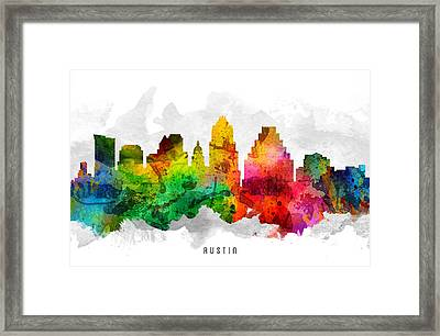Austin Texas Cityscape 12 Framed Print by Aged Pixel