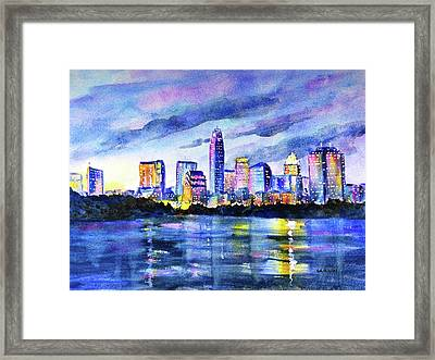Austin Texas Colorful Skyline Sunset Framed Print