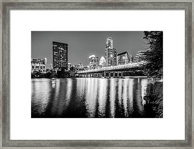 Austin Texas Downtown Skyline At Night On The Colorado River - Black And White Edition Framed Print
