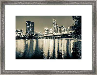 Austin Texas Downtown Skyline At Night On The Colorado River - Sepia Edition Framed Print