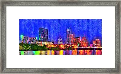 Austin Texas Skyline 100 - Pa Framed Print