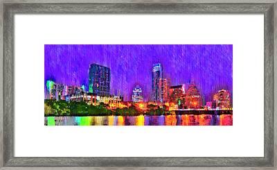 Austin Texas Skyline 110 - Pa Framed Print by Leonardo Digenio