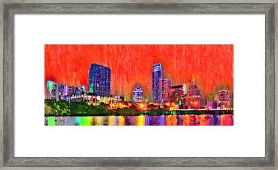Austin Texas Skyline 113 - Pa Framed Print by Leonardo Digenio