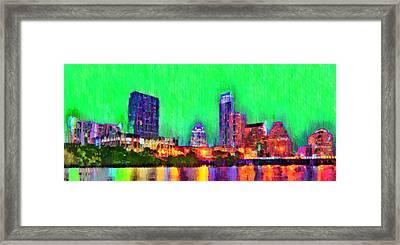 Austin Texas Skyline 116 - Pa Framed Print