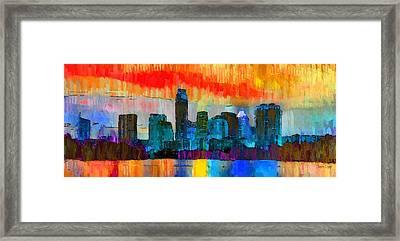 Austin Texas Skyline 201 - Pa Framed Print