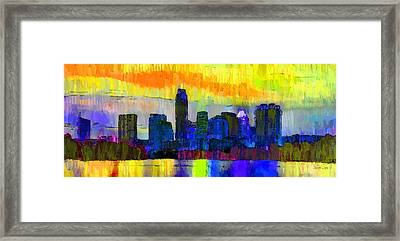 Austin Texas Skyline 202 - Da Framed Print by Leonardo Digenio