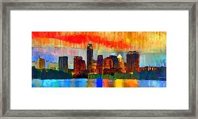 Austin Texas Skyline 207 - Pa Framed Print