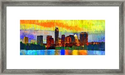 Austin Texas Skyline 211 - Pa Framed Print by Leonardo Digenio