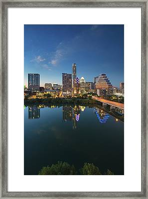 Austin Texas Skyline At Night 73 Framed Print by Rob Greebon