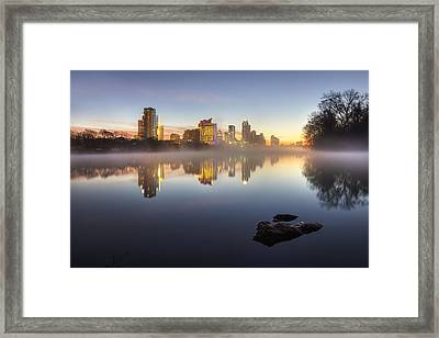 Austin Texas Skyline In January 1 Framed Print by Rob Greebon