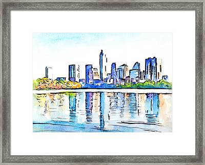 Austin Texas Skyline Lady Bird Lake Framed Print