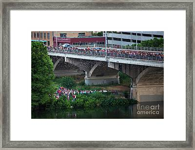 Austin's World Famous Bats Take Flight From The Congress Bridge As Tourists Look On In Shock And Awe Framed Print