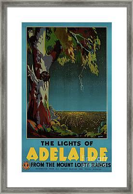 Australia Adelaide Restored Vintage Travel Poster Framed Print by Carsten Reisinger