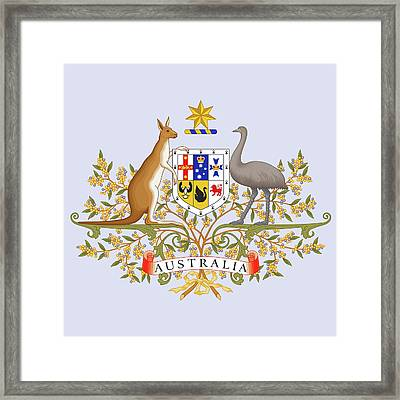 Framed Print featuring the drawing Australia Coat Of Arms by Movie Poster Prints