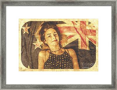 Australia Day Pinup Girl Postcard Framed Print by Jorgo Photography - Wall Art Gallery