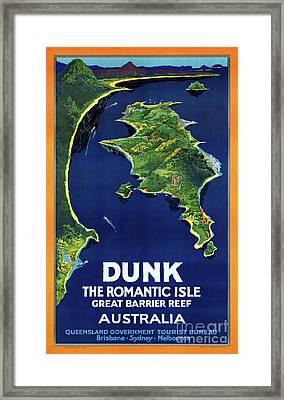 Australia Dunk Restored Vintage Travel Poster Framed Print by Carsten Reisinger