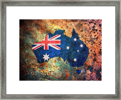 Australia Flag Map Framed Print