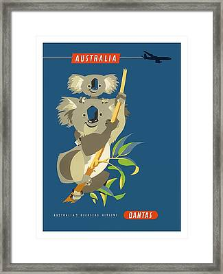 Australia Koala Bears Qantas Empire Airways Vintage Travel Poster Framed Print