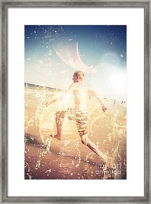 Australian Beach Fun Framed Print