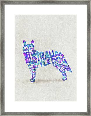 Framed Print featuring the painting Australian Cattle Dog Watercolor Painting / Typographic Art by Inspirowl Design