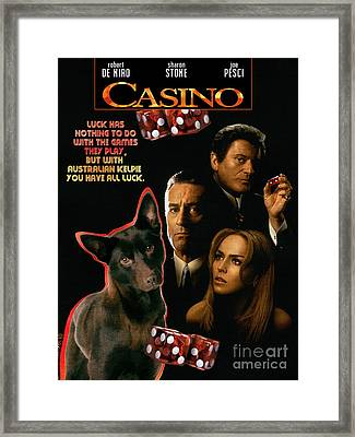 Australian Kelpie -  Casino Movie Poster Framed Print by Sandra Sij