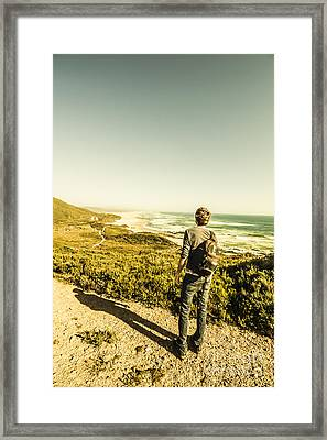 Australian Man Admiring Tasmania Landscape Framed Print by Jorgo Photography - Wall Art Gallery