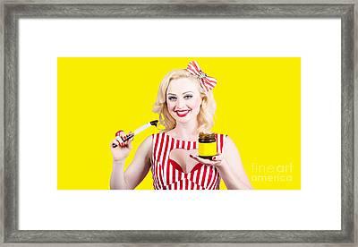 Australian Pinup Woman Holding Sandwich Spread Framed Print by Jorgo Photography - Wall Art Gallery
