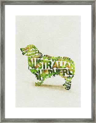 Australian Shepherd Dog Watercolor Painting / Typographic Art Framed Print