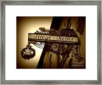 Austrian Beer Cellar Sign Framed Print by Carol Groenen