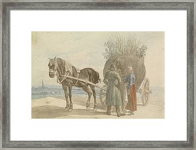 Austrian Peasants With A Horse And Cart Framed Print by Celestial Images