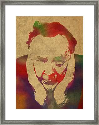 Author James Patterson Watercolor Portrait Framed Print by Design Turnpike