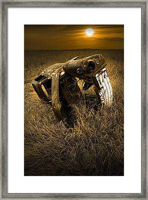 Auto Wreck In A Grassy Field On The Prairie At Sunset Framed Print by Randall Nyhof