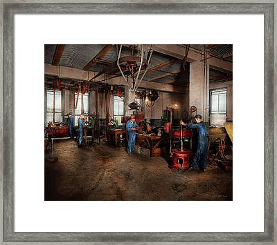 Framed Print featuring the photograph Autobody - The Bodyshop 1916 by Mike Savad