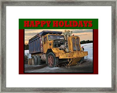 Autocar Happy Holidays Framed Print by Stuart Swartz
