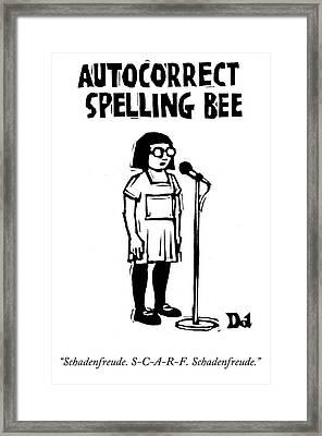 Autocorrect Spelling Bee Framed Print by Drew Dernavich