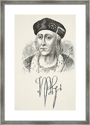 Autograph And Portrait Of King Henry Framed Print