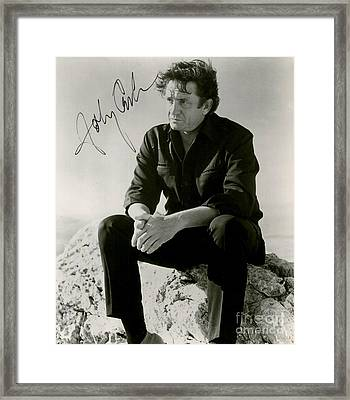 Autographed Cash Framed Print by Pd