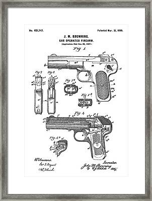Automatic Pistol Operated By Gas - Patent Drawing For The 1899 Gas Operated Firearm By J. M. Brownin Framed Print
