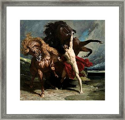 Automedon With The Horses Of Achilles Framed Print by Henri Regnault