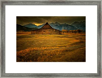 Autum At The Moulton Barn Framed Print