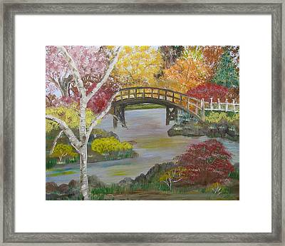 Autum Bridge Framed Print by Mikki Alhart