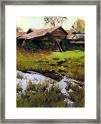 Framed Print featuring the painting Autum Countryside by Sergey Zhiboedov