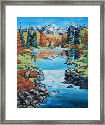 Autum Stag Framed Print
