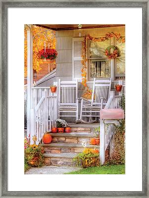 Autumn - House - My Aunts Porch Framed Print by Mike Savad